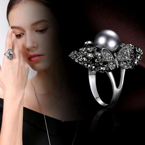Vintage Big Gray Simulated Pearl Ring Antique Silver Color Gray Crystal Hollow Flower Ring For Women