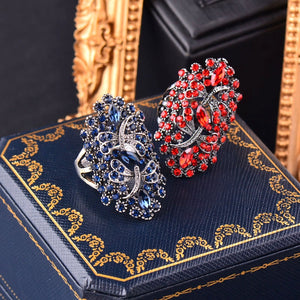 Vintage Big Hollow Blue Rhinestone Dragonfly Rings For Women