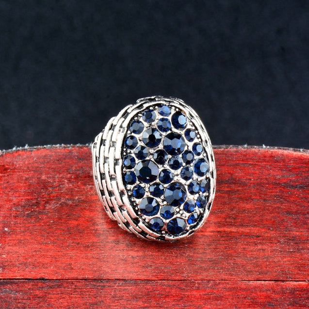 Vintage Dark Blue Cubic Zirconia Big Oval Rings Jewelry For Women