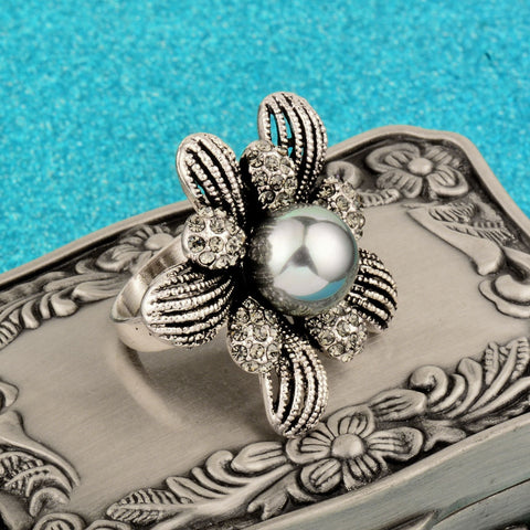 Simulated Gray Pearl Big Flower Ring For Women