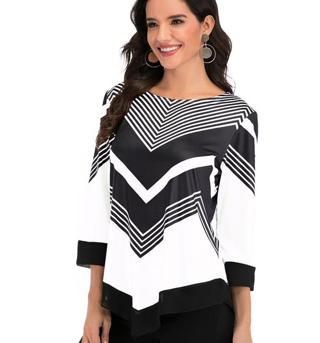 O Neck 3/4 Sleeve Printing  Blouse