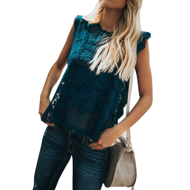 Sleeveless Floral Lace Patchwork Vintage Tunic Shirt