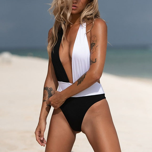 Women Patchwork One Piece Swimwear