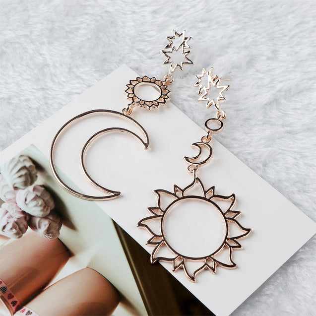 Hollow Out Moon Sun Dangle Earrings