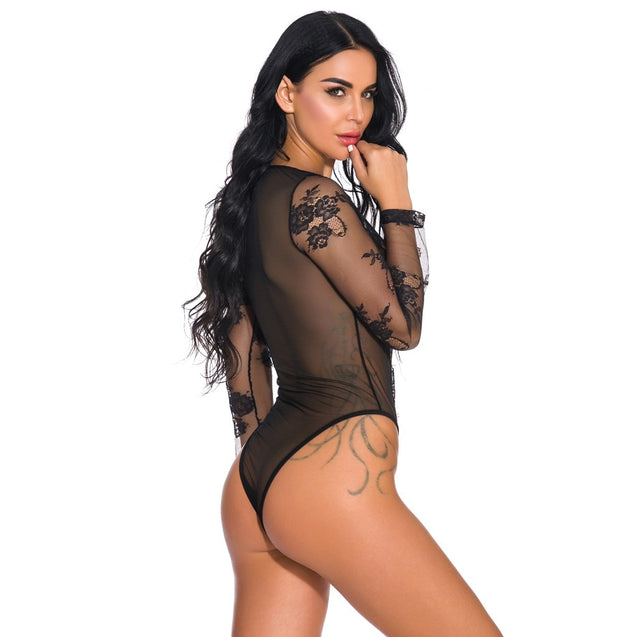 Deep V Neck Lace Mesh Perspective Long Sleeve Bodysuit
