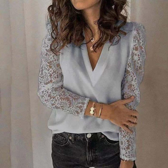 V Neck Lace Hollow Out Long Sleeve Shirt