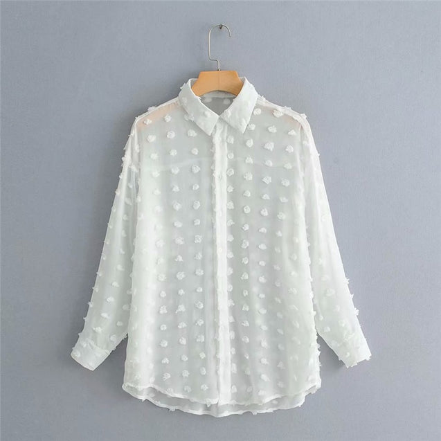 Elegant Long Sleeve Polka Dot Shirt