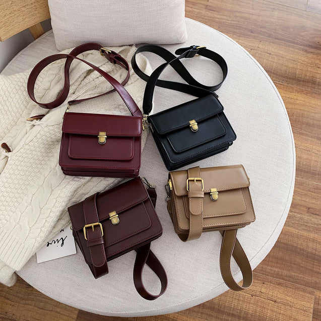 MINI Solid Color PU Leather Crossbody Bags For Women