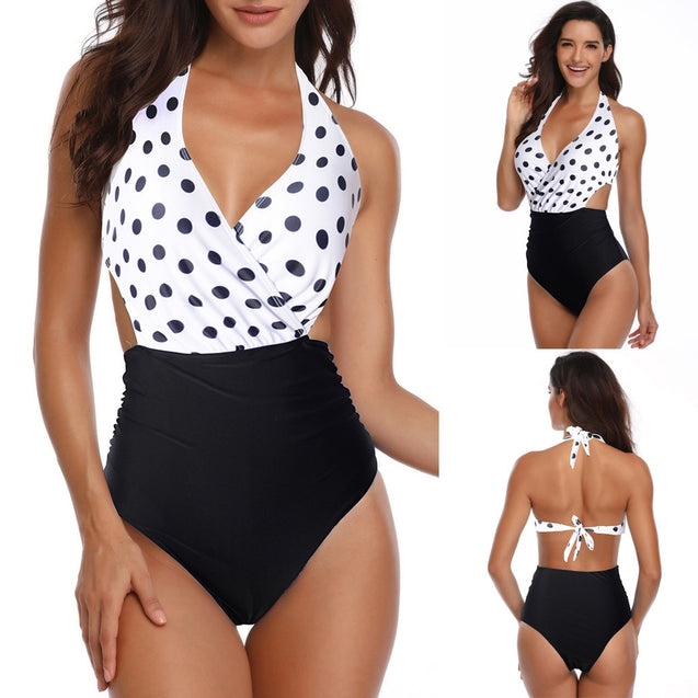 Halter Dot One Piece Bikini Set