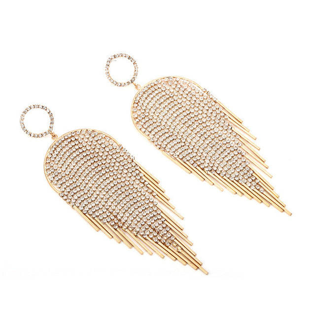 Luxury Statement Crystal Feather Shape Tassel Drop Earring for Women