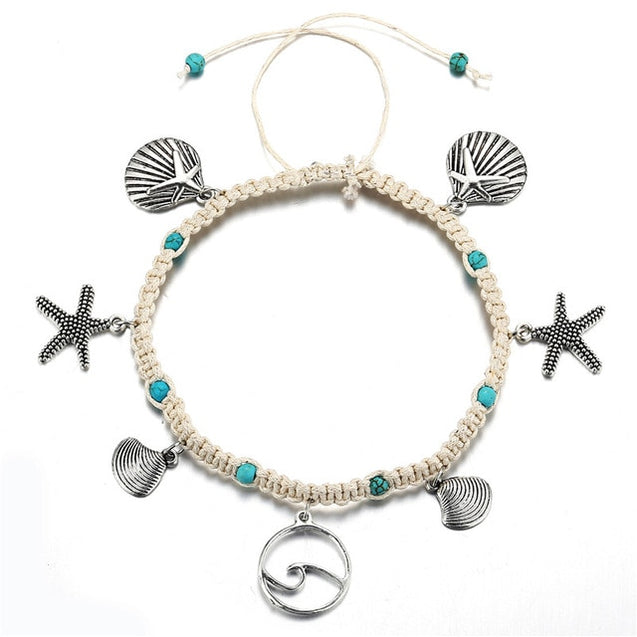 Starfish Shell Wave Anklet White Rope With Blue Natural Stone Inlay