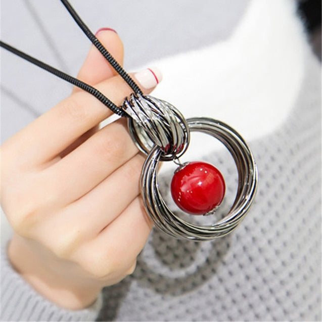 Red and White Pearl Ball Pendant Long Necklaces N
