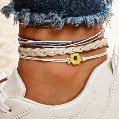 Image of Bohemian Multi Layered Sunflower Anklet Set for Women