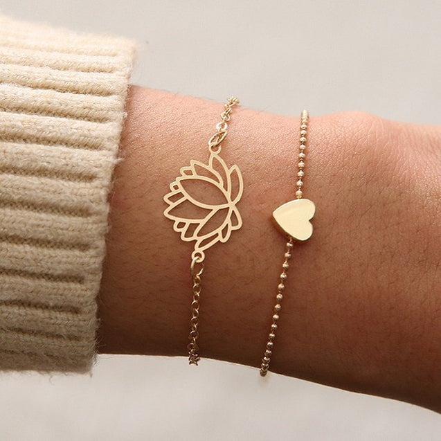 Simple Heart Lotus Charm Bracelet