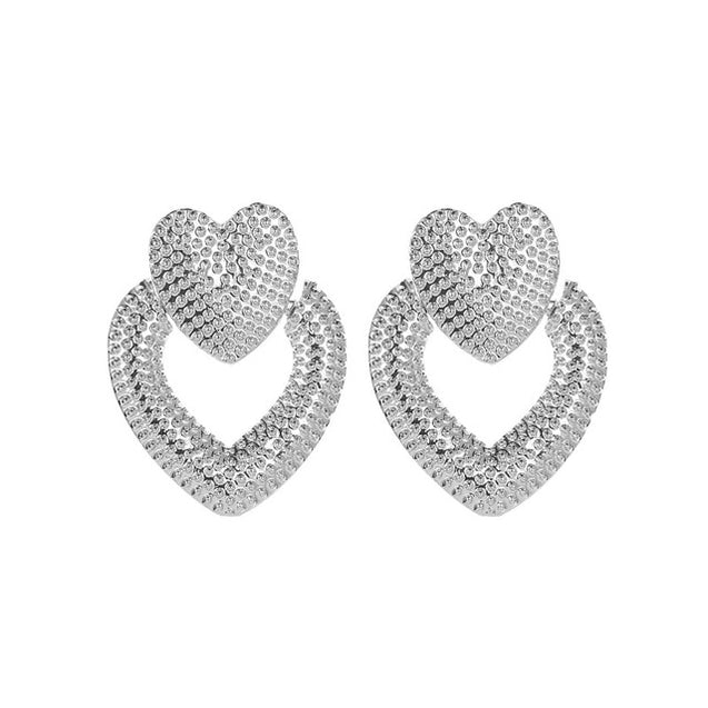 Lady's Chic Metal Stud Earrings