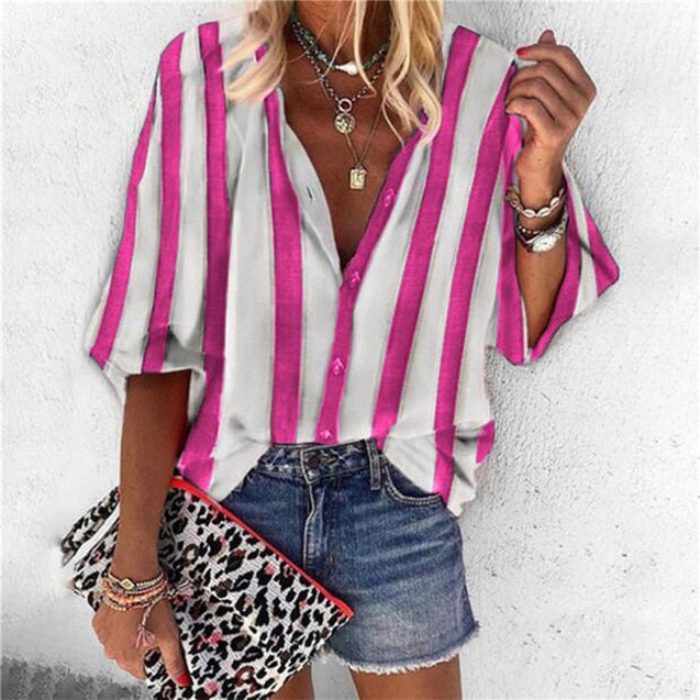 V Neck Button Long Sleeve  Chains Print Shirt