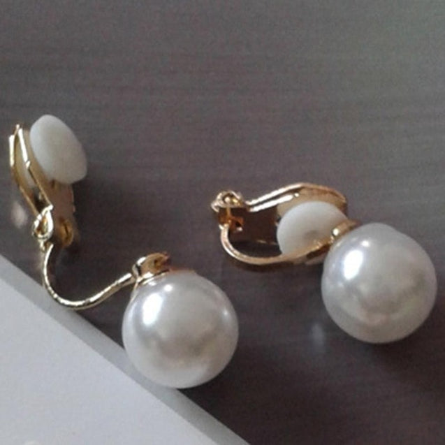 Simple Pearl Clip on Earrings