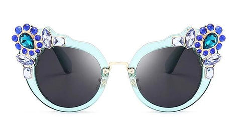 Artificial Crystal Embellishment Cat Eye Sunglasses
