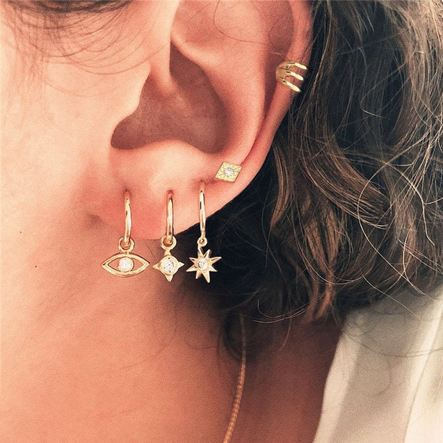 Vintage Moon Star Stud Earrings