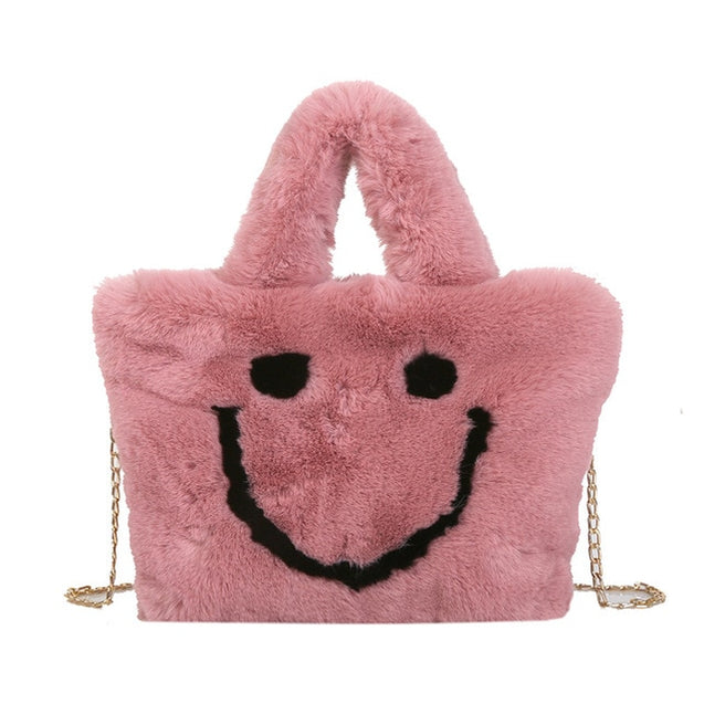 Women Plush Smiley Tote Bag