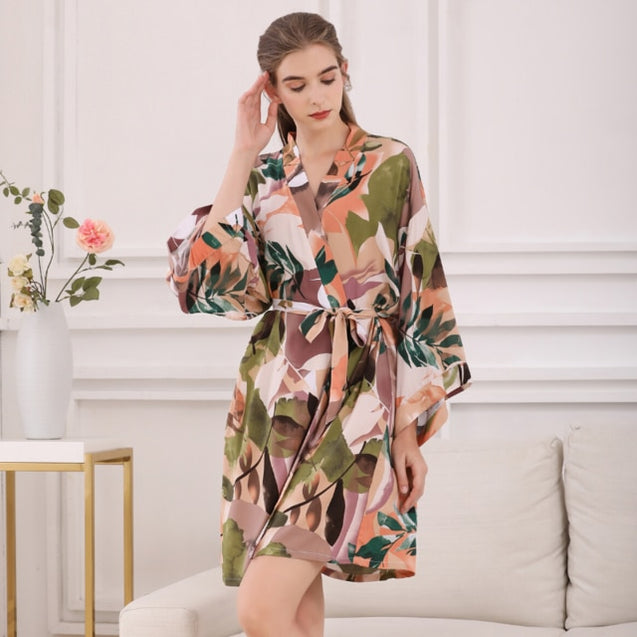 Ladies Silk Satin Thin Robe Sleepwear