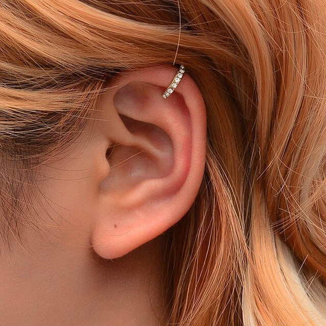 2pcs/Set Crystal Ear Cuff Clip On Earrings Without Piercing Gold Silver
