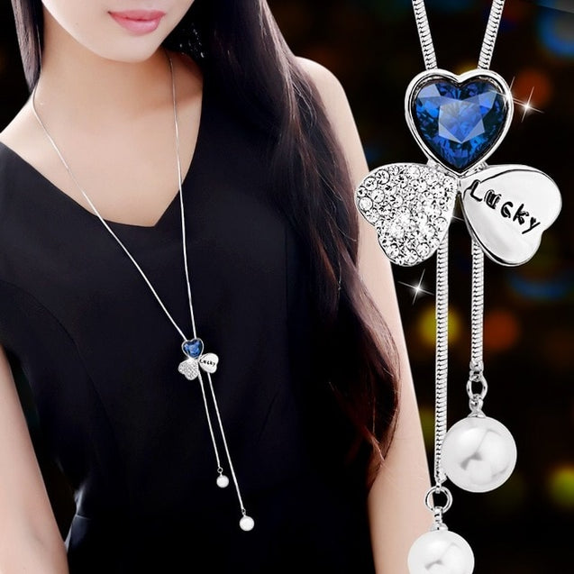Crystal Snowflake Lariat Necklace Pendant