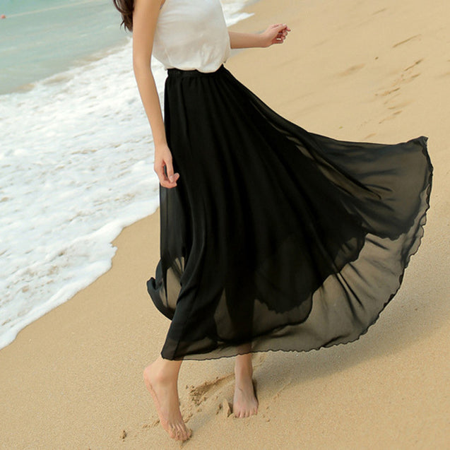 Black Floor Length Pleated Skirt