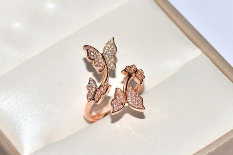 Silver Color Butterfly Resizable Rings Zircon Bling Stone