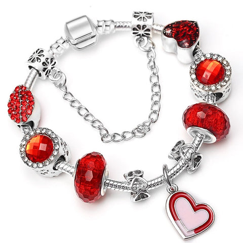 Image of Womens Charm Bracelets With Pink Crystal Beads Fine Bracelets Women