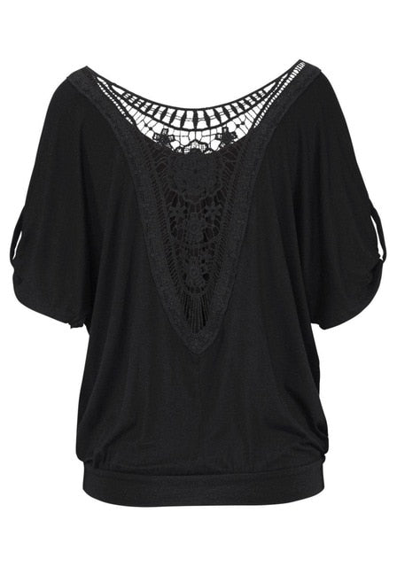 Casual Vintage Lace Hollow Blouse