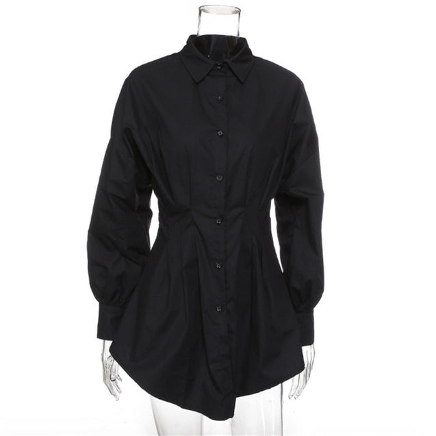 Turn-Down Collar Long Sleeve Lapel Blouse