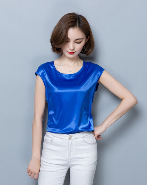 Satin O Neck Casual OL Silk Blouse