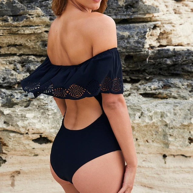 Black Lace Flounce Off Shoulder Swimsuit