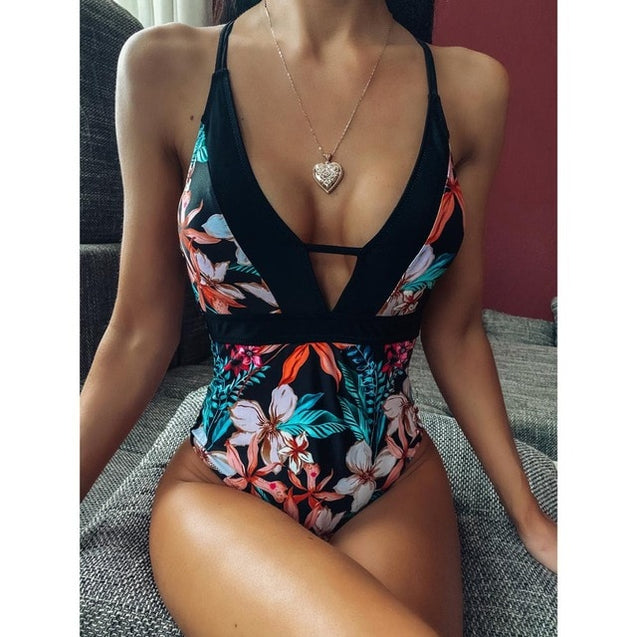 One Piece Swimsuit Floral Printed Swimwear
