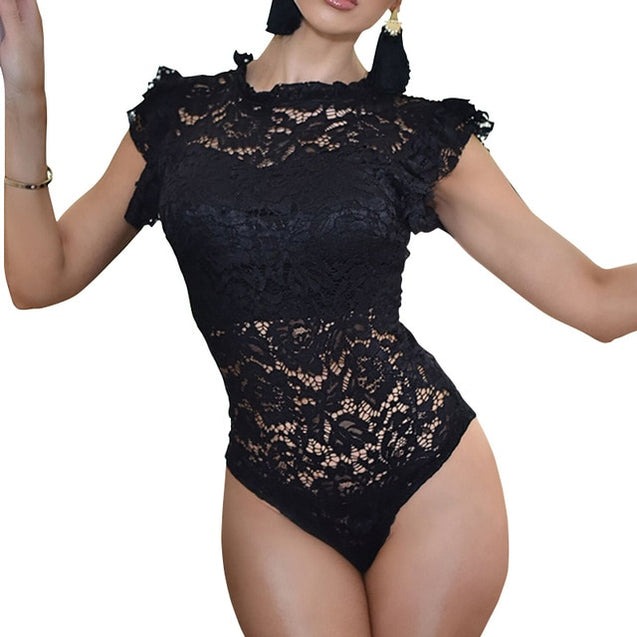 Hollow Out Lace Ruffles Short Sleeve Bodysuit