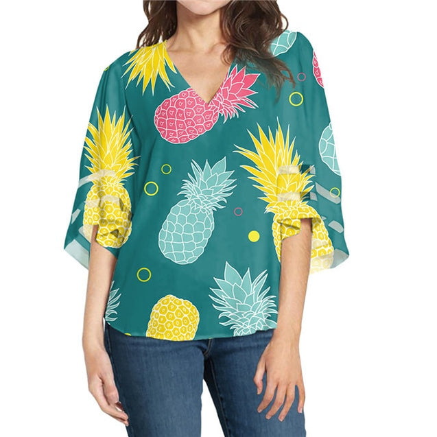 Chiffon Deep V Neck Custom Design Printing Shirt