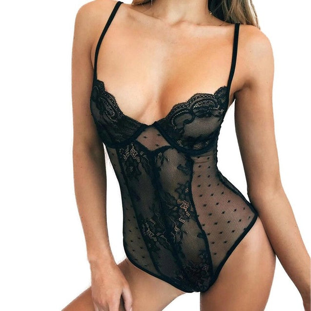 V neck Sleeveless  Lace  Mesh Transparent Bodysuit