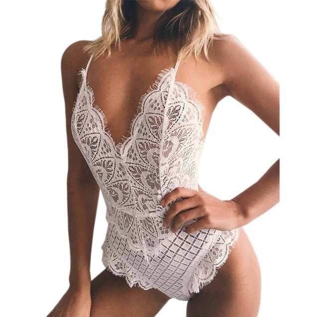 Deep V Neck Eyelash Lace Bodysuit