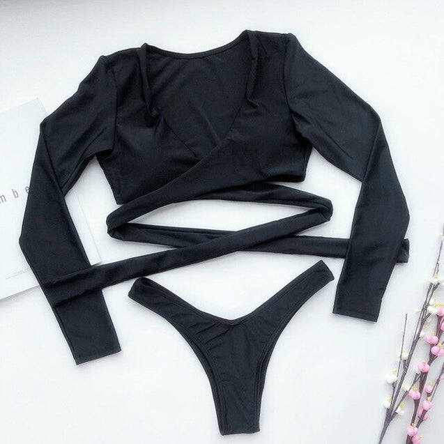 Long Sleeve Bikinis Black Bandage V neck Bathing Suit