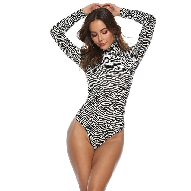 Skinny Turtleneck Long Sleeve Leopard Bodysuit
