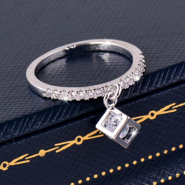 Charm Cubic Zirconia Crystal Inside Hollow Square Pendant Ring