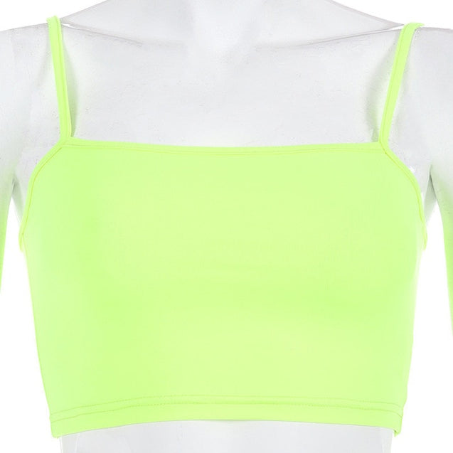 Pink Spaghetti Strap Crop Tops Solid Slash Neck Camis Women Neon Streetwear