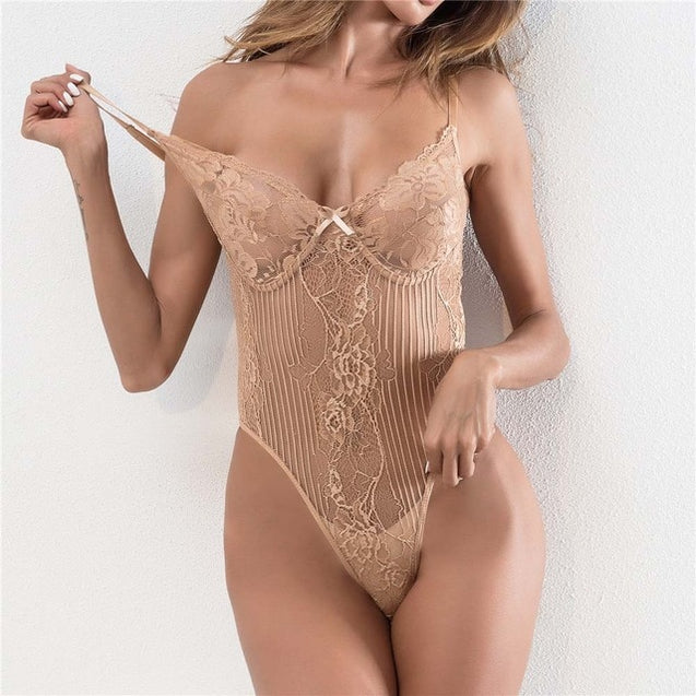 Backless Mesh Straps Lace Bodysuit