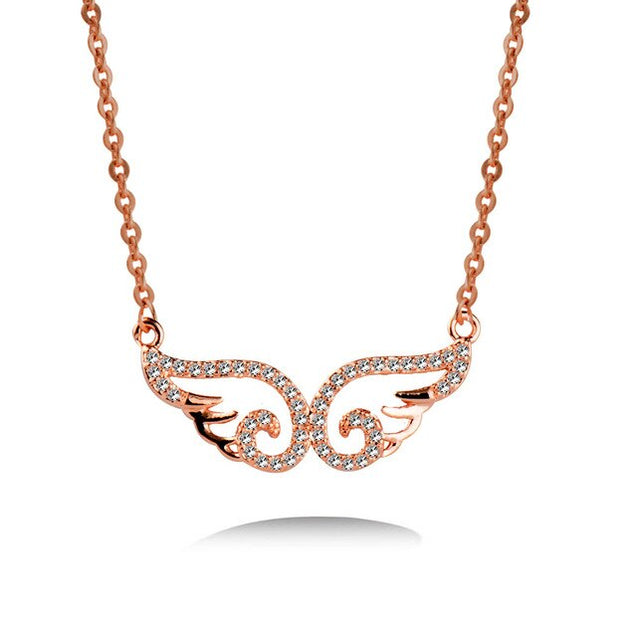 Cute Hollow Angel Wing Pendant Necklace