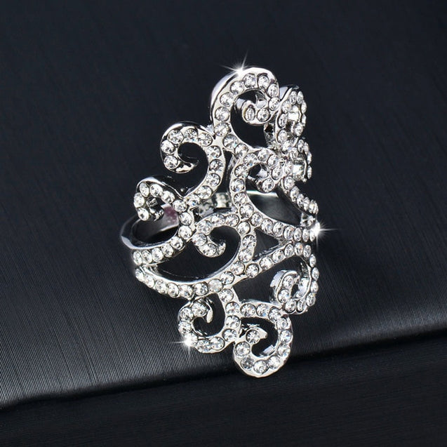 Vintage Cubic Zirconia Hollow Lace Flower Ring