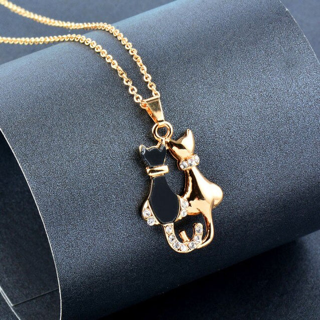 Cat Bow Heart Flower Pendant Rhinestone Necklace