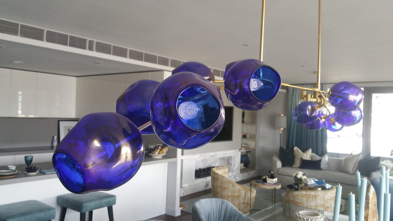 "72"" long Mid-Century inspired Blue Chandelier"