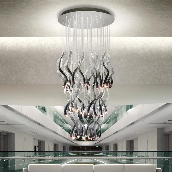Modern white & black Italian glass chandelier with 54  LED lights