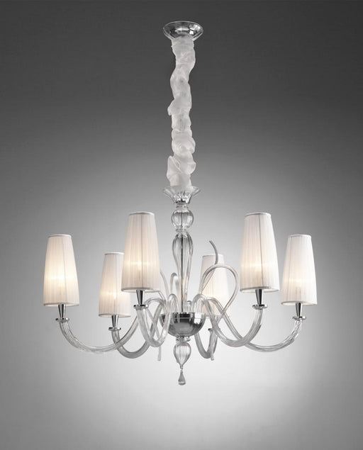 Captivating  modern blown glass chandelier with six white silk shades